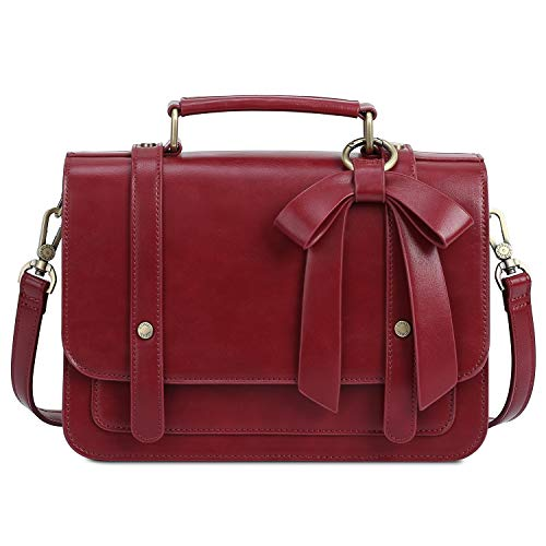 (ECOSUSI Women's Small Vintage PU Leather Crossbody Satchel Bag with Detachable Bow, Red)