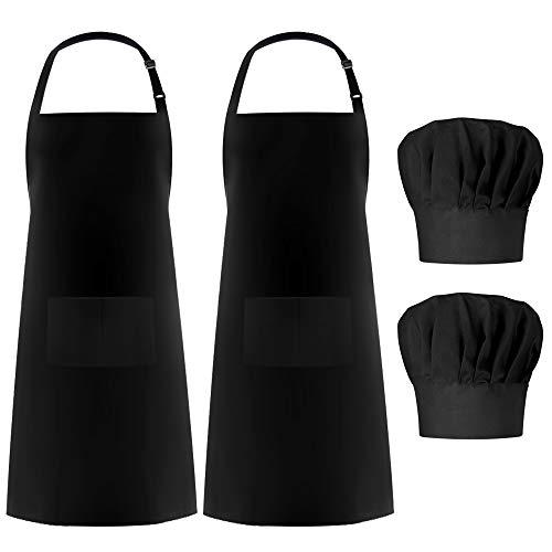 Syntus 2 Pack Apron Chef Hat Set, Adjustable Black Bib Cooking Aprons Water Drop Resistant Elastic Baker Kitchen Cooking Chef Cap Women Men Chef, Black