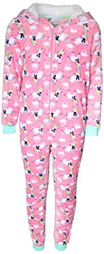 Rene Rofe Girl's Plush Fleece Onesie Pajama with Sherpa Lined Hood, Light Pink Unicorns, Size 14/16'