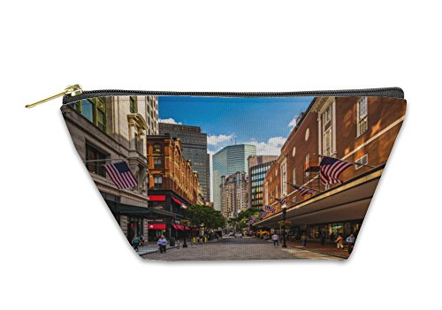 Gear New Accessory Zipper Pouch, The Downtown Crossing Shopping District In Boston Massachusetts, Large, - Shops In Crossing Downtown