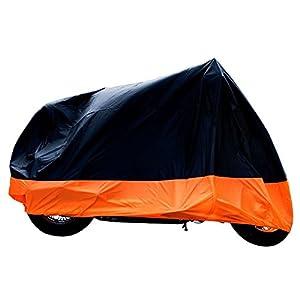 "XYZCTEM All Season Black&Orange Waterproof Sun Motorcycle cover,Fits up to 108"" Harley Davison,Honda,Suzuki,Kawasaki,Yamaha and More (XX Large) from XYZCTEM"