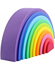 Montessori-säng, regnbåge-sadelleksak, regnbåge trä leksak byggstenar förskola stapla leksak baby lärande leksak pedagogiskt pussel för barn