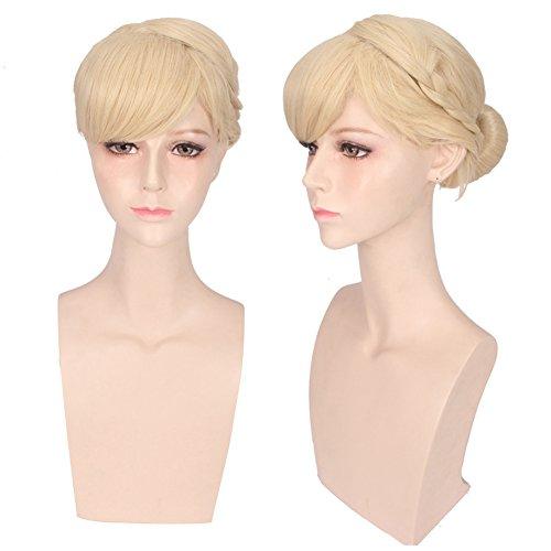 Deniya Short Straight Blonde Cosplay Wig with 1 Clip on Bun