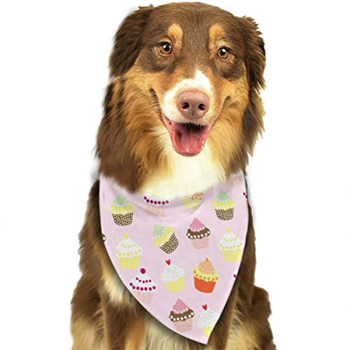 Pet Scarf Dog Bandana Bibs Triangle Head Scarfs Pink Cupcakes Accessories for Cats Baby Puppy ()