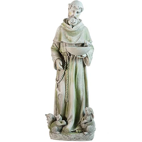 (Northlight Standing Religious St. Francis of Assisi Bird Feeder Outdoor Garden Statue, 23.5