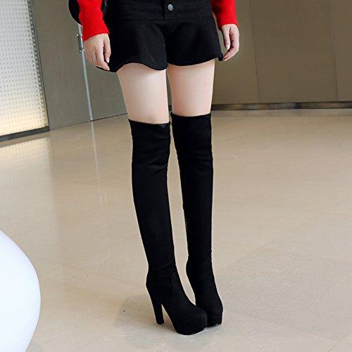 BIGTREE Botas altas del muslo Mujer Tacón alto Cuero de PU Casual Bloque Otoño Invierno Plataforma Botas sobre la rodilla De Negro-RB