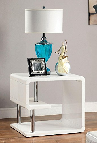 Furniture of America CM4057E Ninove I White High Gloss End Side Nesting Tables