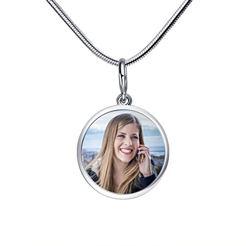 Personalized 925 Sterling Silver Charms Beads Custom Your Own Photo Memorial Gift Round Photo Charm Beads Bar Pendant Fit Pandora Chamilia Biagi Necklace Bracelet, Birthday/Xmas Gift Keepsake (Personalized Photo Pendant)