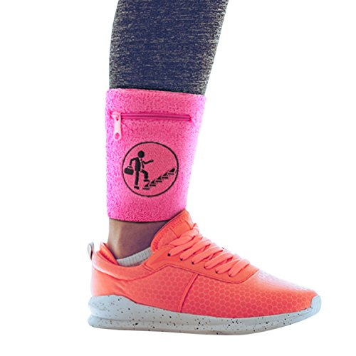 Athletic & Traveling ankle band. Use with Fitbit Flex 2 & other bullet style activity trackers. Store credit cards. For runners & travelers. Sleep band. 2 pack! (Pink, Medium/Large)