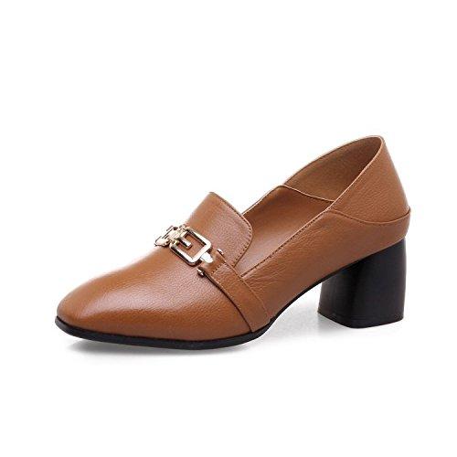 Souples DKFJKI pour Sauvage Tête épais Mode Chaussures en Bouches Talons Femmes à pour Femmes brown Métal Profondes Carrée Chaussures à qrF7BqAp