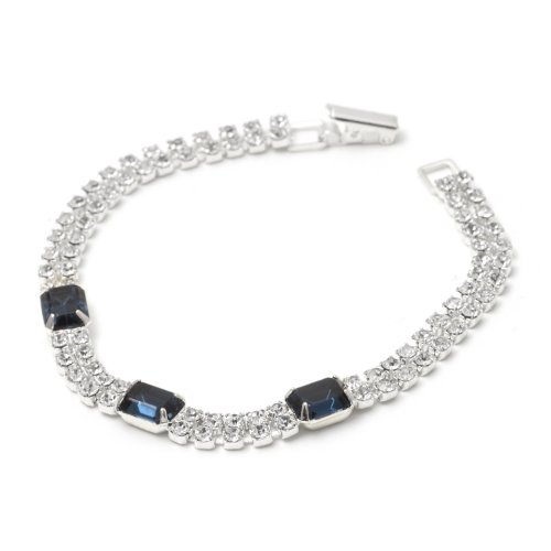 - 2 Line Strand Rows Silver Crystal Rhinestone with Baguette Cut Montana Stone Tennis Bracelet