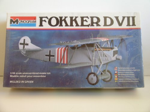 "Monogram German WW I Fokker DVII Biplane"" Plastic Model Kit"