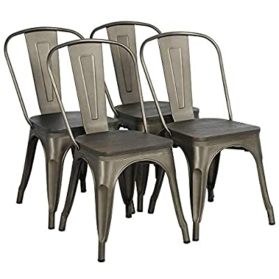 Yaheetech Metal Dining Chairs with Wood Seat/Top Stackable Side Chairs Kitchen Chairs with Back Indoor-Outdoor Classic/Chic/Industrial/Vintage Bistro Café Trattoria Kitchen Gun Metal, Set of 4