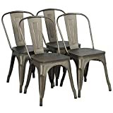 Yaheetech Metal Dining Chair with Wood Seat/Top Stackable Side Chairs with Back Indoor-Outdoor Classic/Chic/Industrial/Vintage Bistro Café Trattoria Kitchen Gun Metal,Set of 4