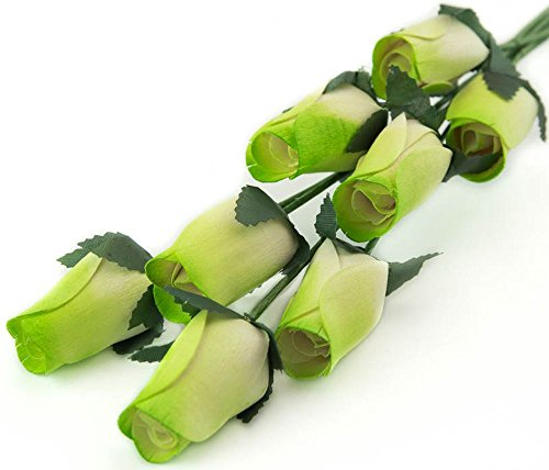 Green Funeral Plant (White Roses with Green Tips Bunch of 8 Closed Bud Wooden Roses For Crafts Custom Bouquets and other DIY Projects. Choose form Over 50 Colors)
