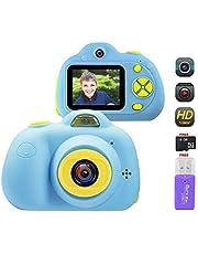 OFUN 1080P HD Macchina Fotografica per Bambini, Digitale Selfie Macchina Fotografica 8MP + 2 Pollici LCD + 16GB Carta TF + Lettore di schede, Antiurto Silicone Regalo di Compleanno per Ragazzi(Blu)