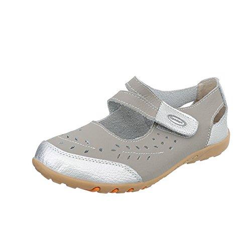 Silber Cu Plataforma Zapatos de mujer 5003 Ital as Design Grau Zapatos para tacon wUa114q