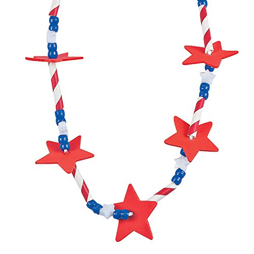 Fun Express USA Patriotic Star Straw Necklace Craft Kits (Makes 12) for Fourth of July