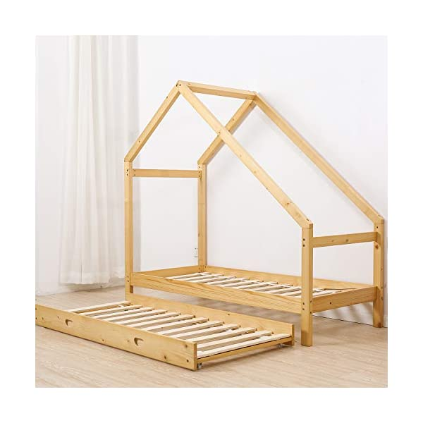 UHOM Children Wood Bed Toddler House Frame Bed Tent Floor Double Bed, Twin Size Bedroom Furniture 2