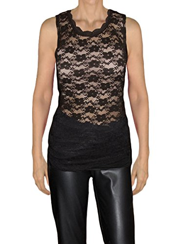 Ooh la la Misses and Plus Size Sleeveless Stretch Lace or Solid Tank Top Blouse (Plus 3X, Black Lace) Stretch Lace Tank