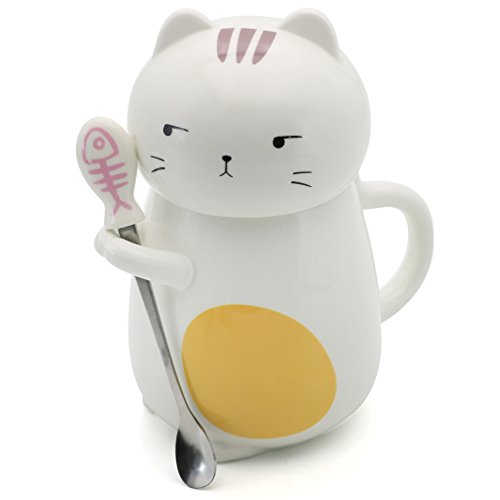 EPFamily Cat Mug Set 3D Lucky Ceramic Coffee Tea Mugs with Lid Spoon Gifts for Women Girls Mom Dad Cat Lovers 14 Oz