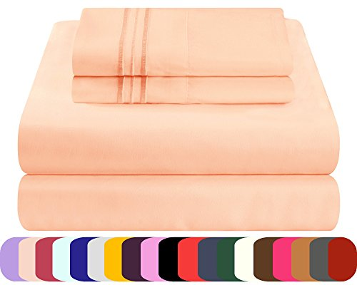 Mezzati Luxury Bed Sheets Set - Sale - Best, Softest, Coziest Sheets Ever! 1800 Prestige Collection Brushed Microfiber Bedding (Peach, Twin XL) - Pillow Top Twin Set