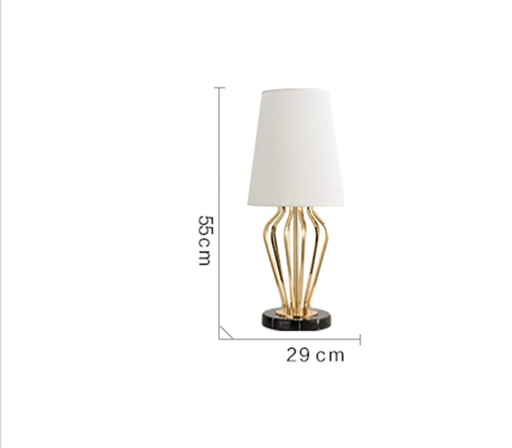 Table Lamp, Sample Room Nordic Marble Personality Cloth Bedroom Bedside Energy Saving and Environmental Protection Modern, ChuanHan, White