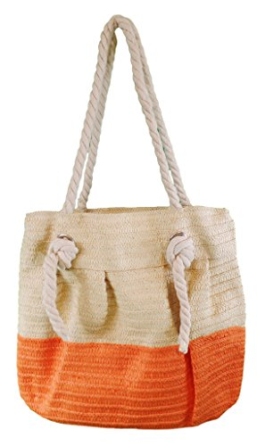 Price comparison product image Toya Straw Large Rope Handle Bucket Style Beach Bag Tote (CORAL)