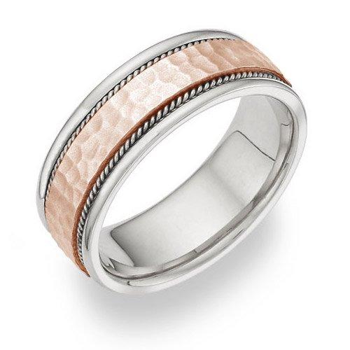White Gold Rose Hammered Wedding product image