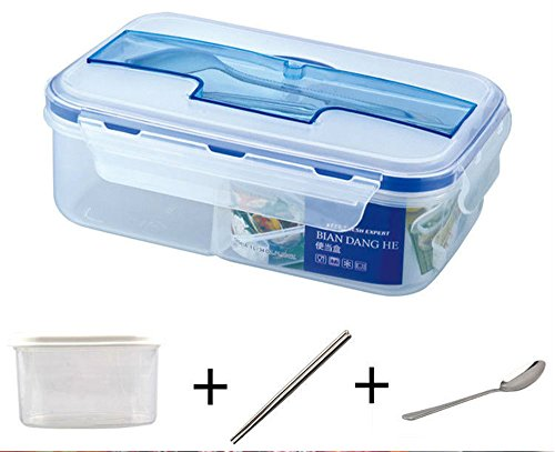 Awayyang Leakproof, 3 Compartment, Bento Lunch Box with fork spoon, Airtight Food Storage Container