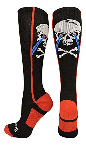 MadSportsStuff Crazy Socks with Laser Skull and Crossbones Over The Calf Socks (Black/Red, Small) -