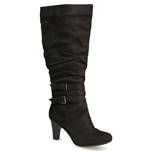 Twisted Women's HAILEY Faux Suede Wide Calf Knee-High Western Heeled Riding Boot with Multi Buckle Straps - HAILEY16SP BLACK, Size (Strap Riding Boots)
