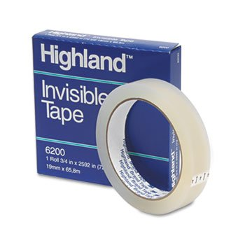 Highland 6200342592 Invisible Permanent Mending Tape, 3/4