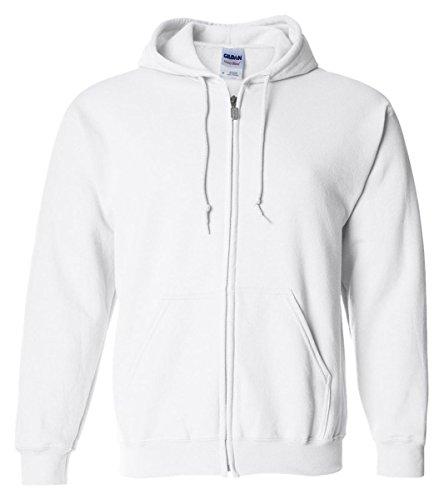 Gildan Heavy Blend Unisex Adult Full Zip Hooded Sweatshirt Top (XL) (White)