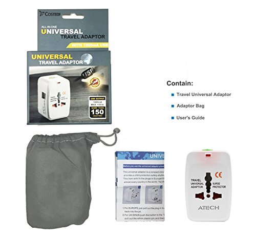 All in One Universal Travel Adapter Worldwide Power Plug Wall AC Adaptor Charger with Dual USB Charging Ports US EU UK AUS NZ AC100-240v Surge Protected Portable International Power Adapter by ATECH (Image #8)