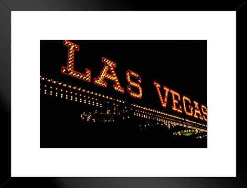 Poster Foundry Las Vegas Nevada Vintage Neon Sign Board Illuminated Photo Art Print Matted Framed Wall Art 26x20 inch