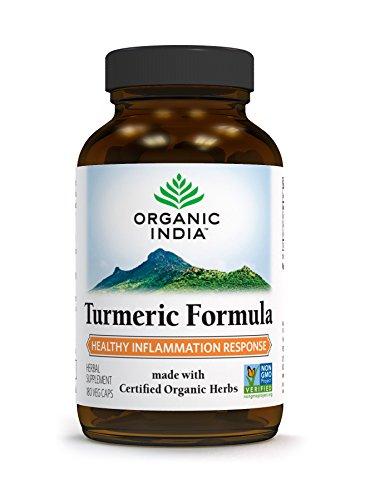 Turmeric Dietary Supplement (Organic India Turmeric Capsule Supplement, 180 Count)