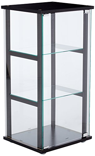 3-Shelf Glass Curio Cabinet Black and ()