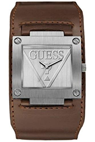 Guess Reloj de cuarzo de acero inoxidable para hombres con correa de cuero, marrón, 8 (modelo: 8431242949697)