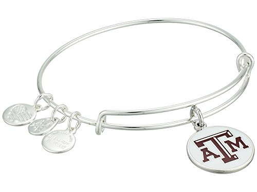 (Alex and Ani Women's Color Infusion Texas A&M University Logo II EWB Bracelet, Shiny Silver, Expandable)