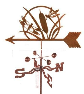 Dragonfly Rain Gauge Garden Stake Weathervane - Made in the USAe USA