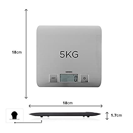 Amazon.com: Duronic KS1009 Super Slim Sleek Design Digital Display 5 KG / 11 LB Electronic Kitchen Scales - with Glossy Brushed Chrome Stainless Steel ...