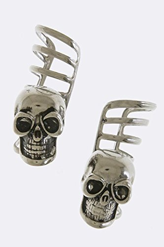 KARMAS CANVAS VINTAGE SKULL ACCENT CUFF EARRINGS (Antique Silver)