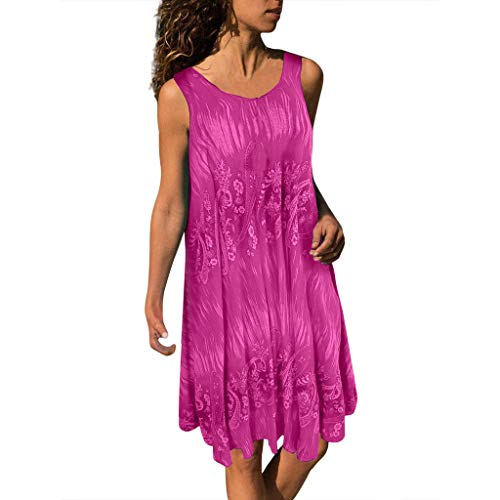 (Women's Dye Printed Summer Sleeveless Tunic Top Swing T-Shirt Loose Dress)