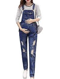 Simgahuva Women Maternity Denim Overalls Adjustable Jumpsuit Fit Belly Pants