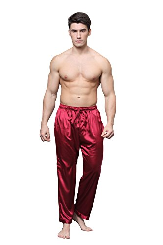 Mens Silk Lounge Pants - Tony & Candice Men's Satin Pajama Pants Long PJ Bottoms (XX-Large, Burgundy)