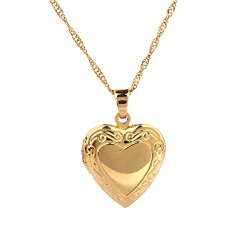 18k Gold-Filled Heart Locket Pendant Necklace with Engraved Heart (Big heart engraved)