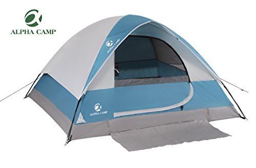 ALPHA CAMP Dome Tent 3 - 4 Person Camping Tent with Carry Bag, 3 Season Lightweight Backpacking Tent 9' x 7' Blue