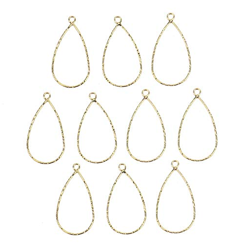 Monrocco 10Pcs 18K Gold Plated Teardrop Drop Charms Pendants,Beading Hoop Earring Findings for Earring Making,Crafting