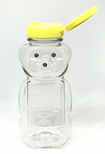 - 12 oz Honey bear with Flip Top Lid Plastic Squeeze Bear Wedding Party Favors (6 yellow)